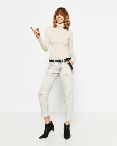 4 ZARA Relaxed Fit Ripped New rt$ 54 taille basse gris clair Crop Jeans sz 8 27 29