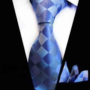Tie-Pocket-Square-Blue-Silver-Grid-Check-Set-100-Silk-Wedding-Necktie-Hanky