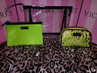 Victorias Secret Cosmetic Bags Set 3 Piece Green Cheetah Print Set