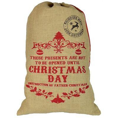 Santa Sack Present Hessian Gift Xmas Stocking - Don't Open Until Christmas Day