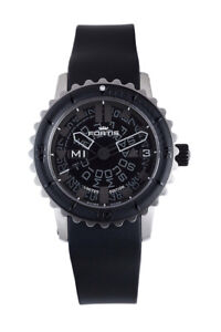 Fortis Men's 675.10.81 K B-47 Big Black Automatic Black Rubber Day Date Watch