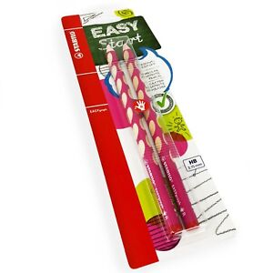 2-x-STABILO-Easygraph-Handwriting-Pencils-HB-Right-Handed-Pink-Barrel