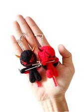 2 x Cute Thai Handmade Demon Devil Ghost Voodoo Cotton String Doll Keychain Ring