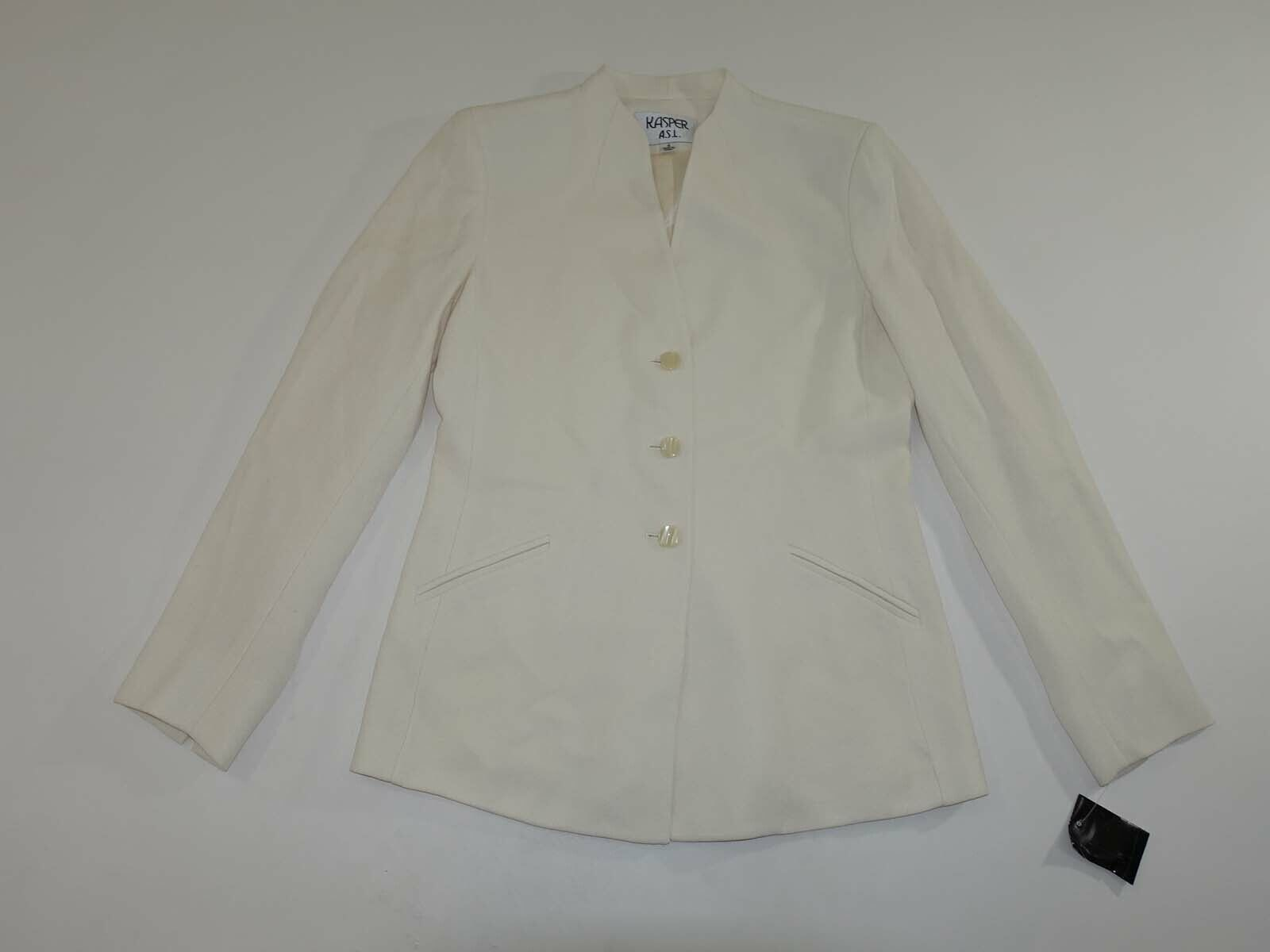 Kasper a. S. L.Damen 3 Knopf Blazer Jacke Größe 4 Nwot Elfenbein Anzug Mantel