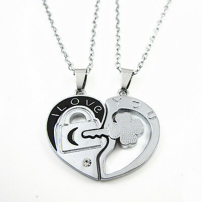 Couples Stainless Steel I Love You Heart Lock & Key Pendant Chain Necklace