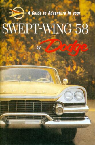1958 DODGE PASSENGER CAR OWNER/'S MANUAL