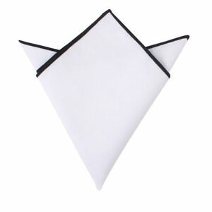 54ed0be4b0f65 Image is loading White-Black-Edge-Cotton-Pocket-Square-Groomsmen- Handkerchief-