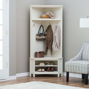 Superbe Image Is Loading White Corner Hall Tree Shoe Storage Bench Home