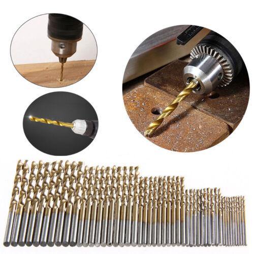 50Pcs Titanium Coated HSS High Speed Steel Drill Bit Set Tools 1//1.5//2//2.5//3