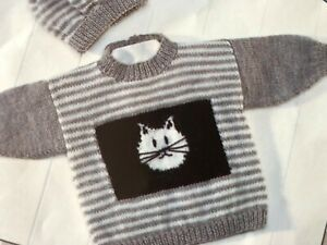 BABY GIRLS BOYS 0 - 7 YRS CAT JUMPERS & HAT Knitting ...