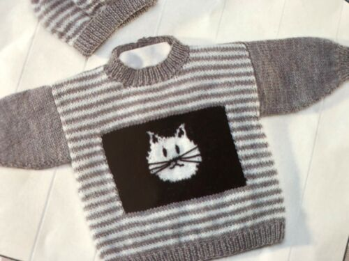 "BABY GIRLS BOYS 0-7 YRS  CAT JUMPERS /& HAT   Knitting Pattern DK 16-282/""-9Bd"