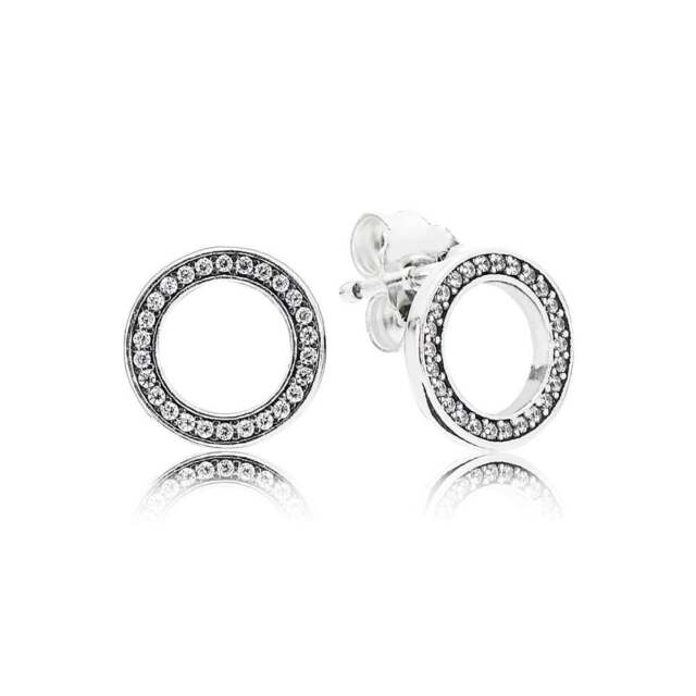 New Authentic 925 Silver Forever Pandora Stud Earrings Clear Cz 290585cz A32