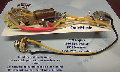 COMPATIBLE TO FENDER BROADCASTER NOCASTER 1950 1952 REPRO VINTAGE WIRING  HARNESS | eBayeBay