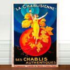"Stunning Vintage Liquor Poster Art ~ CANVAS PRINT 16x12"" ~ La Chablisienne"