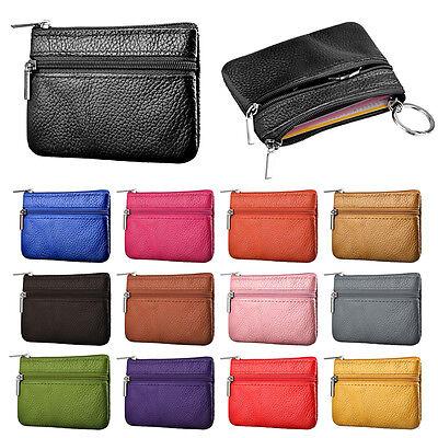 Soft Men Women Card Coin Key Holder Zip Genuine Leather Wallet Pouch Bag Purse Q