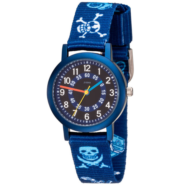 JOBO Kinder Armbanduhr Pirat blau Quarz Aluminium Kinderuhr Jungenuhr.