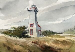 New London Lighthouse, Prince Edward Island, Canada. Watercolor Notecards