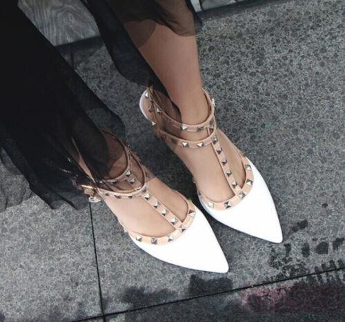 US4-12.5 Women Pointed toe Rivet Shoes Slingback T-strap Stilettos heels Sandals