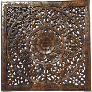 Details About Large Sacred Fig Leaf Wood Carved Wall Panels Asian Decor Plaque 36