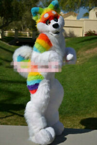 Long Fur Rainbow Husky Dog Wolf Furry Fursuit Cosplay Mascot Costume Suit Party Ebay