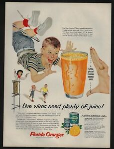 1954 Vintage Print Ad 27 Florida Oranges Fruit Juice Glass Kids