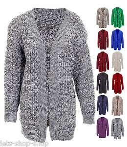 New Ladies Chunky Knit Long Sleeve Fluffy Patch Cardigan Women Plus