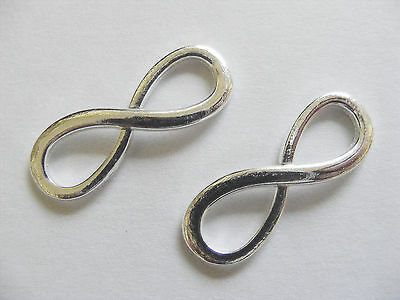2 Large Metal Silver Plated Infinity Charms//Connectors 30mm x 10mm