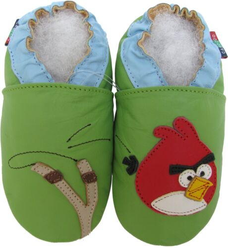 shoeszoo bird green 0-6m S soft sole leather baby shoes