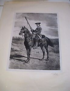 BELLE-LITHOGRAPHIE-034-CAVALIER-19EME-SIECLE-034-1867-Signe-MEISSONIER-JUBERT-Chine