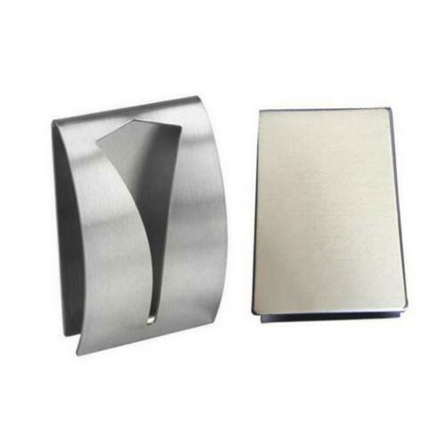 Details about  /Stainless Steel Push In Towel Holder Self Adhesive Square Clip Kitchen Bathroom