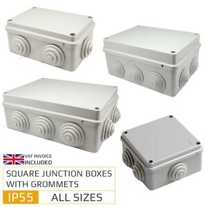 Weatherproof IP55 Junction Box with Grommets Outdoor Exterior ...