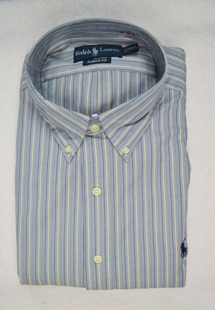 Ralph Lauren Classic Fit bluee & White Stripe Long Sleeve Shirt  Pony-XXL- NWT