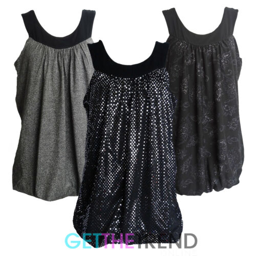 Womens Plus Size Party Dress Top Ladies Strappy Glitter Shiny Long Tops New