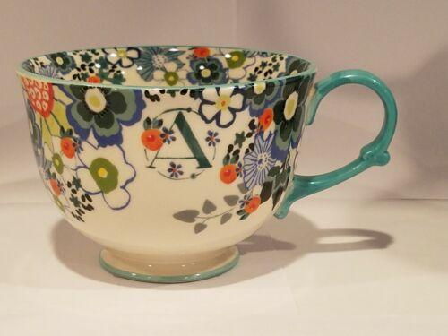 NEW Anthropologie Tea Coffe Time Monogram Letter W Cup Mug
