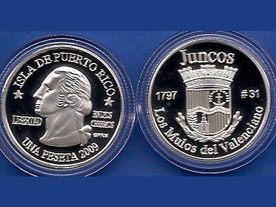 Silver PESETA JUNCOS  2009 Puerto Rico Boricua Quarter 1//100 Plata