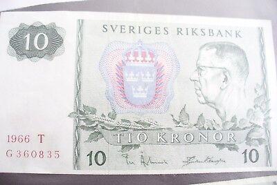 Ancien Billet - 10 Kronor Suede 1966 - Etat Ttb + !!!