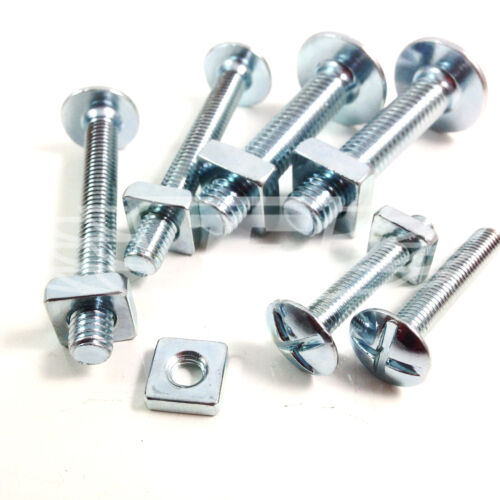 M6 x 12mm ROOFING BOLTS /& SQUARE NUTS DOUBLE SLOTTED CORRUGATED ROOF * 1000