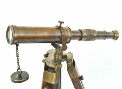 "10/"" Maritime Decorative Brass Antique Telescope With Wooden Tripod Collectible"