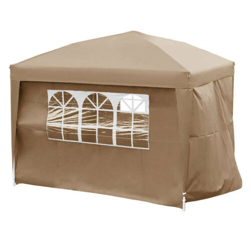 3x3m Garden Gazebo Pavilion Pop Up Marquee with Sides Party Wedding Tent Stall