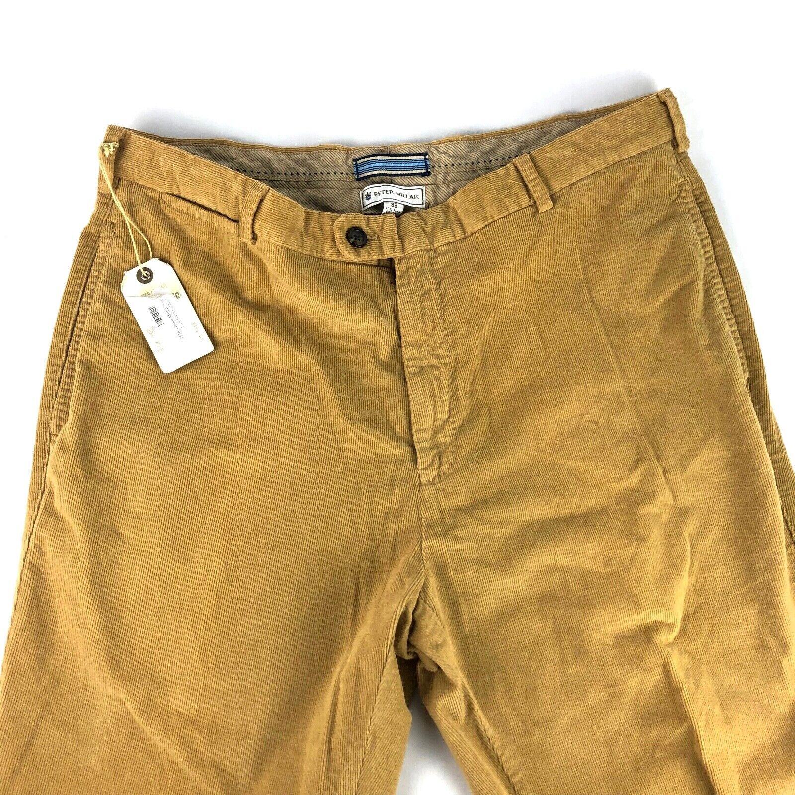 Peter Millar Twill Corduroy Tan Khaki Pants Antique Wash 35 36 NWT MSRP