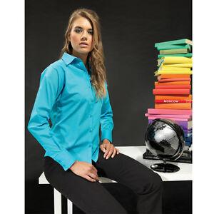 Premier-PR300-shirt-Women-039-s-poplin-long-sleeve-blouse-ladies-Plain-Work-Shirt