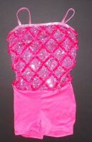 Dance Costume Hologram Sequin Front Shorty Unitard Hot Pink Ladies/child Sz