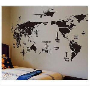 World map removable pvc vinyl art wall sticker room decal mural image is loading world map removable pvc vinyl art wall sticker gumiabroncs Choice Image