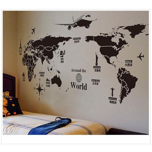 Removable World Map Home Decor PVC Vinyl Art Room Wall Sticker Decal Mural