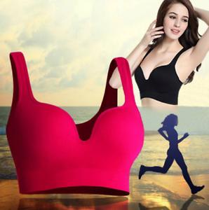 Nahtlos-Push-Up-Sport-BH-Bustier-Top-Fitness-Yoga-Gepolsterte-Ohne-Buegel-M-XL