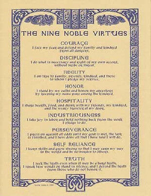 "The Nine Noble Virtues Poster  8 1/2"" by 11"""