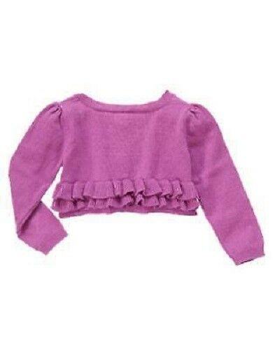 Gymboree Center Stage Purple Lavendar Sweater Cardigan w//Ruffle SZ 2T 3T 5T NEW