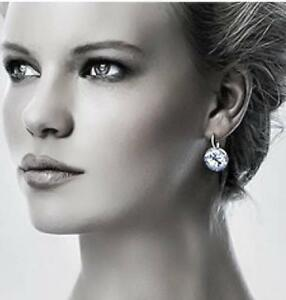 Image Is Loading Bella Earrings Made With Genuine Swarovski Crystals Silver