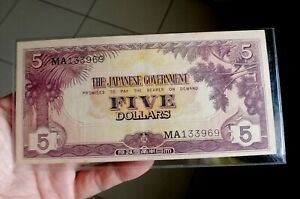 1942 Malaya Japanese Occupation Note $5 with nice number MA133969 Original AEF