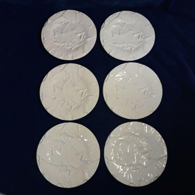 6 BORDALLO PINHEIRO White Maple Leaf Pattern Majolica 6